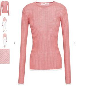 Diane von furstenberg Ribbed Fine Knit Wool Top